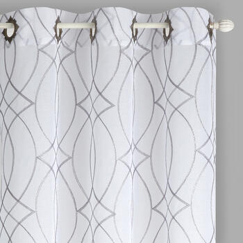 "84"" Spiral Links Embroidered Window Curtains, Set of 2 view 1"