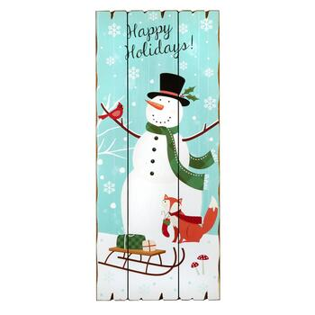 "27""x12"" Snowman and Sled Slatted Wood Plaque"