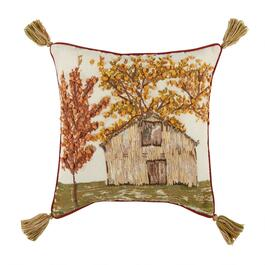 Fall Barn Beaded Tassel Square Throw Pillow
