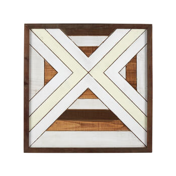 "The Grainhouse™ 24"" Brown/White Geometric Wood Square Wall Decor view 1"
