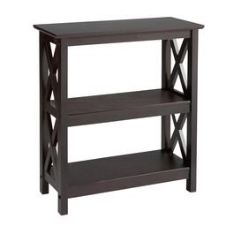 Milan Espresso 2-Shelf X-Sided Bookcase