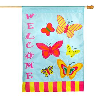 Butterfly Applique Yard Flag