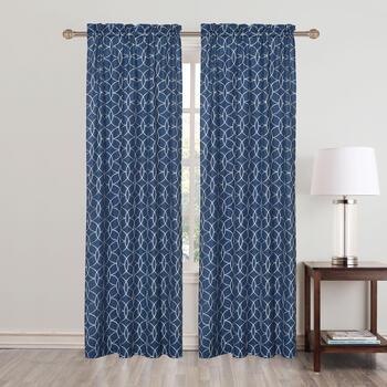 "84"" Geometric Embroidered Rod Pocket Window Curtains, Set of 2 view 2"