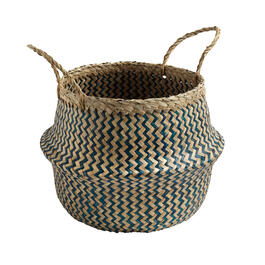 Zigzag Woven Round Seagrass Storage Basket view 1