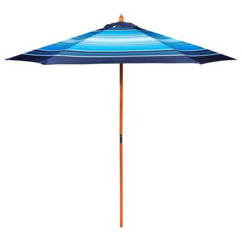 9' White and Blue Striped Double-Pulley Market Umbrella