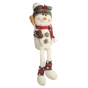 "23"" Dangling Leg Snowman Sitter with Broom"