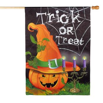 "28""x40"" Sueded Halloween ""Trick or Treat"" Yard Flag"