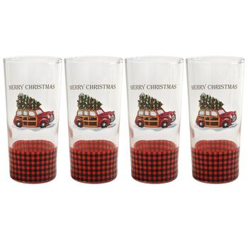 """Merry Christmas"" Vintage Station Wagon Cooler Glasses, Set of 4"