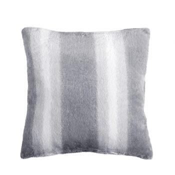 Ombre Stripe Fur-Style Square Throw Pillow