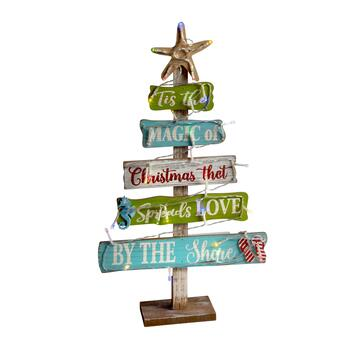 "20.25"" LED ""Love by the Shore"" Tiered Wood Christmas Tree"