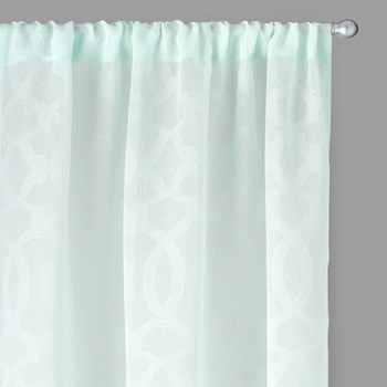 Perfect Window Light Blue Geometric Window Curtains, Set of 2