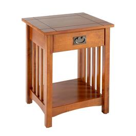 Mission-Style Wood Accent Table with Drawer
