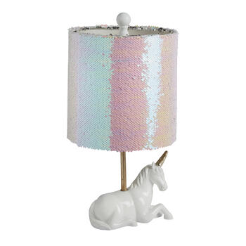 "15.5"" Unicorn Color-Changing Sequin Accent Lamp view 1"