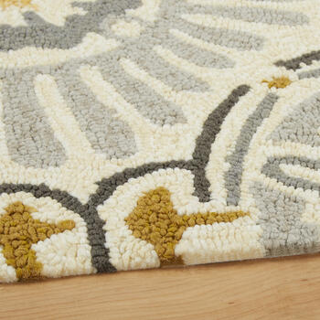 Gray/Yellow Medallions All-Weather Hand-Hooked Rug view 2