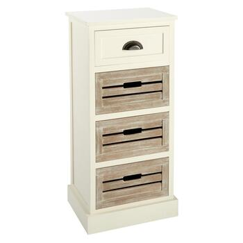 Alden Ivory 1-Drawer 3-Shutter Washed Wood Storage Cabinet