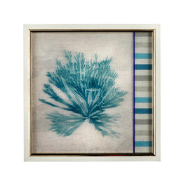 "13"" Blue Coral and Stripes Framed Square Wall Decor view 1"