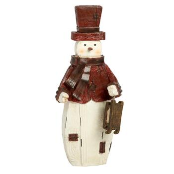 "12"" Red Hat Snowman with Sleigh"