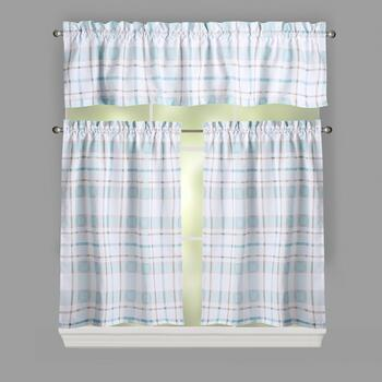 Blue Plaid Printed Window Tier & Valance Set