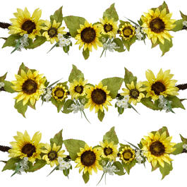 6' Yellow Sunflowers and White Daisies Artificial Garland view 1