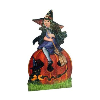 "29"" Retro Witch with Black Cat Jack-O-Lantern Easel Back Decor"