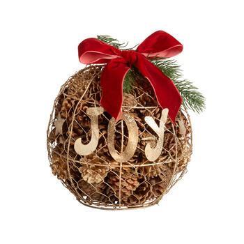 "9"" ""Joy"" Caged Wire Ornament Centerpiece with Pinecones view 1"
