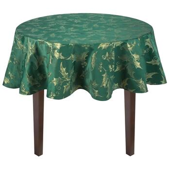 "70"" Round Gold Metallic Holly Green Tablecloth"