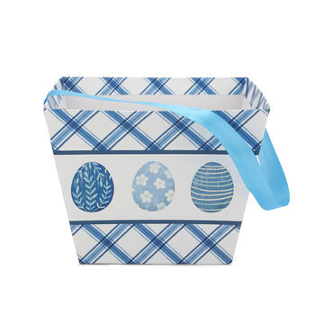 Blue & White Printed Easter Egg Bucket view 4