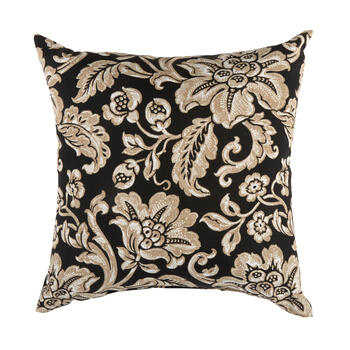 Black/Beige Floral Scroll Indoor/Outdoor Square Throw Pillow view 1