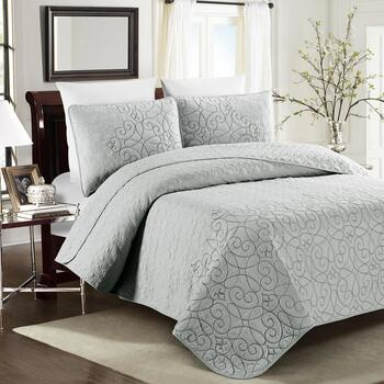 Light Gray Embroidered Quilt Mini Set