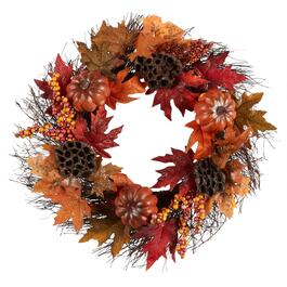 "22"" Glitter Leaves and Pumpkins Faux Wreath"