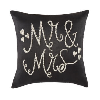 """Mr. & Mrs."" Beaded Hearts Square Throw Pillow view 1"