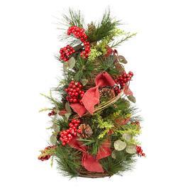 18 pine berry red burlap tree - Christmas Tree Shop