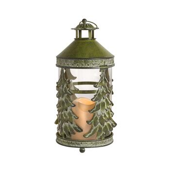 "14"" Green Christmas Trees Flameless Candle Lantern"