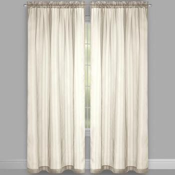 "84"" Lurex Stripe Rod Pocket Window Curtains, Set of 2 view 2"