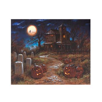 "20""x24"" Moonlit Haunted Farmhouse LED Canvas Wall Art"