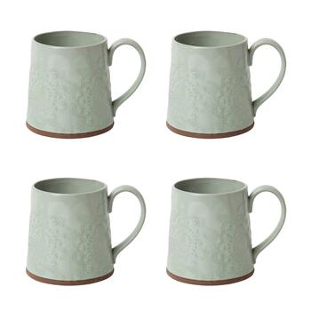 The Grainhouse™ Floral Embossed Mugs, Set of 4