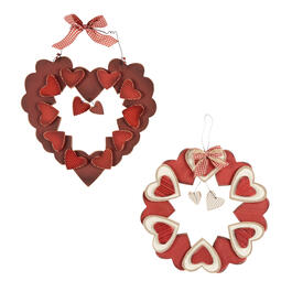 Ribbon Bow and Hearts Hanging Wood Wreaths, Set of 2 view 1