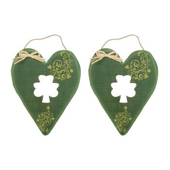 "19"" Cutout Shamrock Heart Wall Hangers, Set of 2"