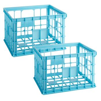 Large Plastic Milk Crates, Set of 2