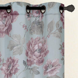 "84"" Pink Flowers Grommet Top Window Curtains, Set of 2 view 1"
