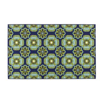 Dark Blue/Green Medallion All-Weather Area Rug