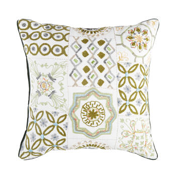 Green Tile Square Throw Pillow view 1