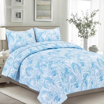 Blue/White Swirl Reversible Mini Quilt Set