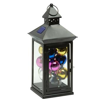 "13"" Color Changing Ball Solar LED Square Top Lantern"