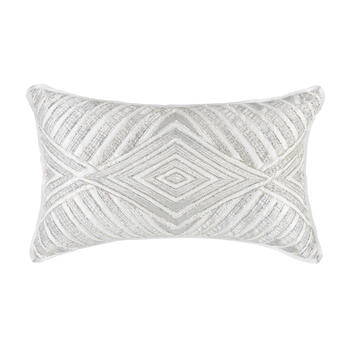 Silver Diamond Bead Oblong Throw Pillow