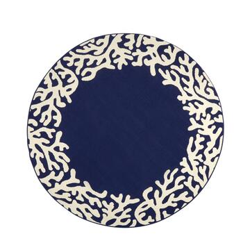 Dark Blue Coral Reef All-Weather Area Rug view 2 view 3