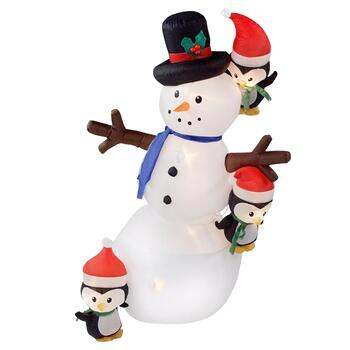 7' Airblown® Inflatable Lighted & Swaying Snowman with Penguins Yard Display