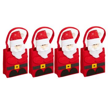 Plush Santa Gift Card Holder Bags, Set of 4