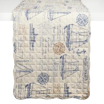 Nautical Postcard/Plaid Reversible Quilted Table Runner