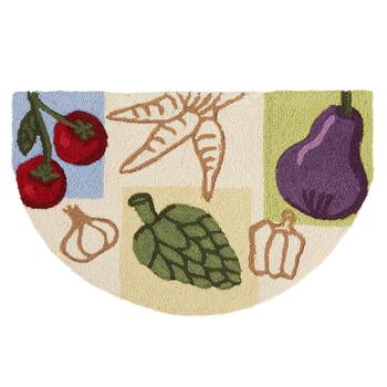 Vegetables Hand-Hooked Slice Floor Mat